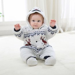 Wholesale Newborn Beige Outfit - Newborn Christmas Deer Baby Boys Girls Warm Infant Romper Kid Jumpsuit Hooded Infant Clothes Outfit Winter Baby Clothing