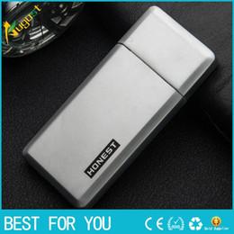 Wholesale Thin Butane Lighter - New hot HONEST good quality ultra-thin metal lighter windproof inflatable lighter butane lighter with gift box