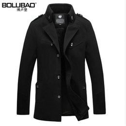 Wholesale Long Wool Overcoats For Men - Wholesale- 2017 New Arrival Winter Warm Wool Blend Men Coat Fashion Quality Cotton Overcoat For Men Casual Plus Size Coat Men