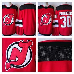 Wholesale Custom Blank Jerseys - Custom 2017 New Brand New Jersey Devils Jerseys Mens #30 Martin Brodeur Red with Black Home Hockey Stitched Any Name Any Name Blank