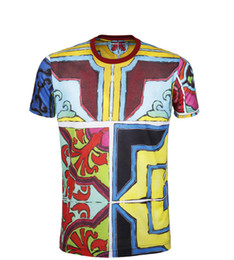 Wholesale Mens Fitness Tshirt - Floral Print Mens T Shirts New Fashion Short Sleeve T Shirt Men Brand O-Neck Fitness T-shirt Men Tshirt Homme EURO SIZE