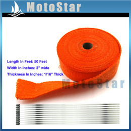 """Wholesale Thermal Wrap Headers - Wholesale- Orange 2"""" x 50 FT Lava Rock Exhaust Wrap Header Pipe Heat Insulation Thermal Tape Roll"""