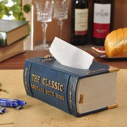 Wholesale Books Tissue Box - Wholesale- Creative European fashion napkin holder cute vintage books paper dispenser molding resin tissue box carton paper towel tube