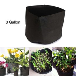 Wholesale Fabric Grow Pots Gallon - Black Fabric Pots Green Plant Vegetable Pouch Root Containers Round Aeration Pot Container Grow Bag For Plant Tool 3 Gallon PML