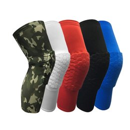 Wholesale Honeycomb Basketball Knee Pads - New Honeycomb Anti-collision Professional Basketball Compression Knee Sleeve Protector Team Sports Training Knee pads Free Shipping