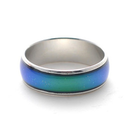 Wholesale Mood Ring Color Change - Hualu 100pcs mix size mood ring changes color to your temperature reveal your inner emotion cheap fashion jewelry