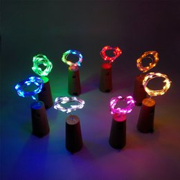 Wholesale Led Lights Bottles - Bottle light string 20-leds 2 meters sliver wire with Bottle Stopper for Glass Craft Wedding Decoration and party light