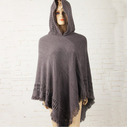 Wholesale Ladies Batwing Poncho - Wholesale- New Hot Tassel Lady Knitted Poncho Irregularity Sweep Hooded Coat Women Batwing Sleeve Sweater Outwear