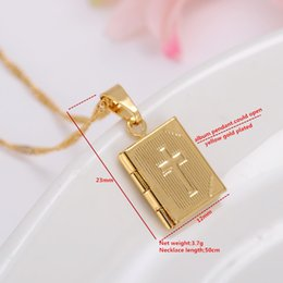 Wholesale Opened Box Pendant - Bible 14k Yellow Fine Gold GF Box Open Pendant Necklace Chains Crosses Jewelry Christianity Catholicism Crucifix Religious
