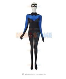 Wholesale Nightwing Costumes - (SUP916)Young Justice Nightwing Lycra sexy catsuit Cosplay Superhero Zentai Halloween Party Costumes