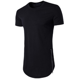 tops trend Coupons - New Trends Men T shirts Super Longline Long Sleeve T-Shirt Hip Hop Arc hem With Curve Hem Side Zip Tops tee