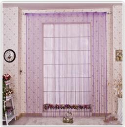 Wholesale Decorative Curtain Fabric - Wholesale-solid color decorative string curtain 300cm*300cm black white beige classic line curtain window blind vanlance room divider