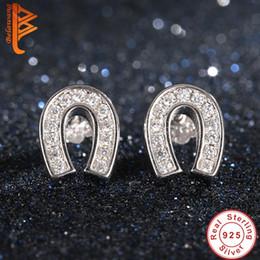 Wholesale Hooks Earings - BELAWANG Women Studs Earings U Shape Hook 925 Sterling Silver Clear White CZ Paved Hypoallergenic Earring Wholesale fit Any Occasions