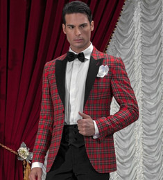 Wholesale Red Plaid Tuxedo Jacket - Wholesale- 2017 New Arrival Designs Red Plaid Jacket With Black Pant Prom Party Suit Wedding Tuxedos For Men Groom And Best Man Suits