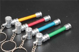 Wholesale Metal Keychain Price - free shipping USA Canada China chea price gadget smoke promotion gift keychain cigarette aluminium smoking pipe portable herb tobacco pipes