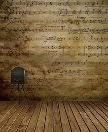 fondo de pantalla para la fotografía de fondo Rebajas 5x7ft Música Notas Pared Fotografía Telones Retro Vintage Madera Suelo Interior Niños Fondos Niños Estudio Decoración Photo Wallpaper Props