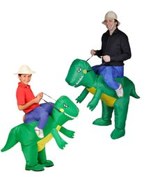 Wholesale Adult Dino Costume - OISK Woman Man Cosplay Inflatable Dinosaur Costume - Fan Operated Adult Kids Size Halloween Animal Costumes Dino Rider T-Rex