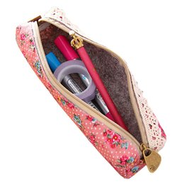 Wholesale- 2016 Mini Flower Floral Lace Pencil Pen Case Cosmetic Makeup Make Up Bag Zipper Pouch Purse 9IHP supplier zipper pouches for pencils от Поставщики молнии мешки для карандашей