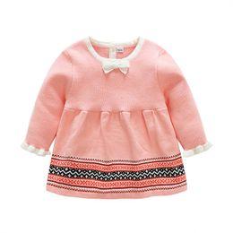 Wholesale Baby Stripe Sweater - Children knitting sweater dresses Baby Girls stripe bows dress 2018 Spring Kids buttons back pink dress Girls cute pleated dress C2433