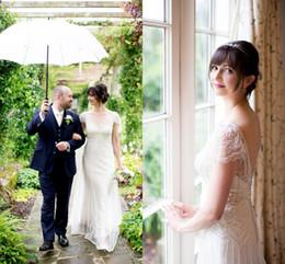 Wholesale V Neck Wedding Dress Sheath - 2017 Jenny Packham Plus Size Wedding Dresses Open Back Vintage Beach Bridal Gowns Sheath Deep V-Neck Short Sleeves for Boho Wedding Wear