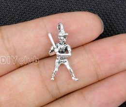Wholesale antique bat - 60pcs-Baseball Charms Antique Bronze Silver Tone 3D Player at Bat Spacer Beads Mitt And Ball Charms Pendant Connector Lovely DIY Jewelry