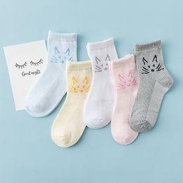 Wholesale Big Boys Socks - 2017 New Arrival Kids Boys Girls Summer Cartoon Cat Socks Kids Cool Mesh Hollow Cotton Soft Socks Big Children Baby Candy Socks A6819