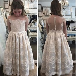 Wholesale Illusion Neckline Communion - So Cute Sheer Long Sleeve Floor Length 2017 Flower Girls Dresses For Wedding Lace Appliqued Jewel Neckline First Communion Party Gowns Cheap