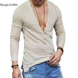 Wholesale Men S Underwear Loose - 2017 Summer Fashion Men T Shirt Loose Deep V Neck Cotton Tshirt Ultra Thin T Shirt Breathable Underwear Men Long Sleeve ME0358