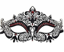 Wholesale Masks Filigree - Luxury His & Hers Couple Masquerade Mask Adult Metal Filigree Venetian Ball Prom Mardi Gras Costume Diamond Party Mask