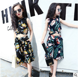 Wholesale Black High Neck Tank - Big Kids sets fashion girls floral printed high waist tank top+wide legged pants 2pc clothing sets autumn new girl cotton clothing T4532