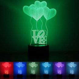 Wholesale B Balloon - Love 3D Light Heart Shape Balloon 7 Colors LED Lights Acrylic Plastic 1.5w Night Lamp For Valentine Day 28rm B