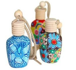 oil porcelain Promo Codes - New Polymer clay essence oil Perfume bottle empty bottle 15 ml Car hang decoration