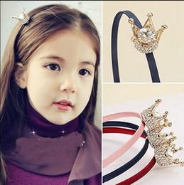 Wholesale Red Crowns - Wholesale- girl hair fashion band alloy crown with rhinestone headband summer style children kids hair accessories