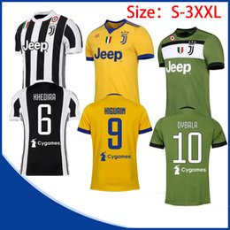 Wholesale White Fans - New DYBALA Soccer Jacket 17 18 HIGUAIN MANDZUKIC CUADRADO KHEDIRA Home Away 3rd Short Sleeve Fan Edition Football Shirt Size S-3XL
