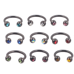 Wholesale Gold 12g - Gold Silver Rainbow Black Horseshoe Rings NOse ring 8mm 12G body jewelry piercing nose Tragus Earring Nose Septum