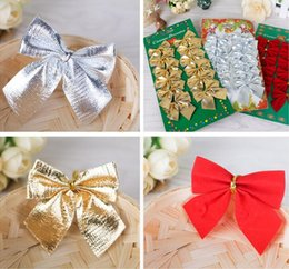 Wholesale Plastic Christmas Hanging Ornament - christmas tree Decoration Bow Articles Pendant Small bow ornament For Christmas Party Tree Hanging red gold silver 3 colors available