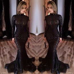 Wholesale Evening Dresses Woman Size - Elegant Black Mermaid Evening Dresses High Crew Neck Sequined Long Sleeves Floor Length Formal Prom Dresses Cheap Dress For Women