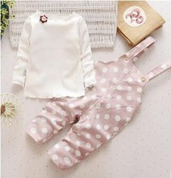 Wholesale Korean Girls 12 Years - 2017 girls fall suit new 1-3 year old female Korean version of children's wear belt pants fashion casual tide coat two sets