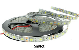 Wholesale Yellow Flexible Pcb - 60LEDs m 300led roll digital smd 5050 RGB Ledstrips DC12v Flexible Led Pixel Strip Light White Double pcb Waterproof IP65 Holiday Led lights