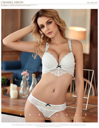 Wholesale Deep V Knot - MOXIAN bra set 2017 new sexy lace underwear ladies deep V hollow bow knot set up Sexy is so simple Purple Black Pink White A B C cup 2012