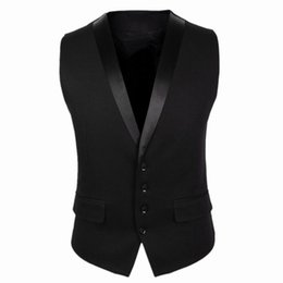 Wholesale New Gilet - Wholesale- 2016 New Arrivals Dress Vests For Men Black Gray Slim Fit Mens Sleeveless Gilet V Collar Male Formal Wedding Waistcoat CH752