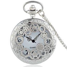 Wholesale Pocket Watch Silver Antique - Wholesale-2016 New Silver Gear Hollow Skeleton Vintage Quartz Pocket Watch Steampunk Necklace Men Women Pendant Best Gift P200
