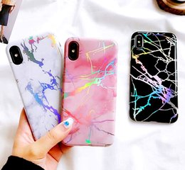 Wholesale Protective Covers Chrome - Shining Laser Housing Cover Plated Shell Soft TPU Cases Phone Protective Chrome Marble Case for iPhone X 6 6S 7 8 Plus