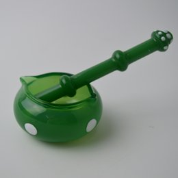 Wholesale Emerald Green Glass - Heady Glass Dabber Oil Picker Wax Dish Ashtray Emerald Green Ash Tray Pen Style 3.14 inch Length Mushroom Shape Oil Dab for Smoking Bong Kit