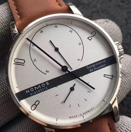Wholesale Mens Dress Watch Brown Leather - New Style Mens Mechanical Movement Nomos Watch Men's 84 Stunden White Dial Saxony Men Glashutte Leather Band Transparent Dress Watches