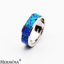 Wholesale Silver Blue Opal Ring - Hermosa Women Ladies Rings Fashion 925 Sterling Silver Promise Blue Opal Handmade Women Jewelry Band Ring Size 8