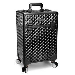 Wholesale Cosmetic Beauty Case Trolley - TENSUNVIS Pro Aluminum Rolling Makeup Case Salon Cosmetic Box Organizer Trolley Beauty Train Case,Black