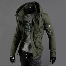 Wholesale Double Zipper Coat - Wholesale- Free Shipping New Slim Sexy Top Designed Mens Jacket Coat 3 Colour:Black,Army green,Blue,hot,Men Jackets Plus Big Size S-5XL