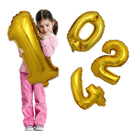 Wholesale Wedding Decoration Ballons - 32 inch Gold Silver Number Aluminum Foil Balloons Letters Helium Ballons Birthday Decoration Wedding Air Balloon Party Supplies