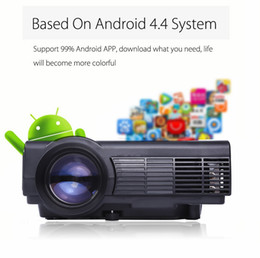 Wholesale Home Powerful - Wholesale-POWERFUL Q5 Quad-core Android 4.4 Wifi LCD Projector 800 x 480 Pixels with Miracast WiFi Bluetooth 4.0 1080P Protable Proyector